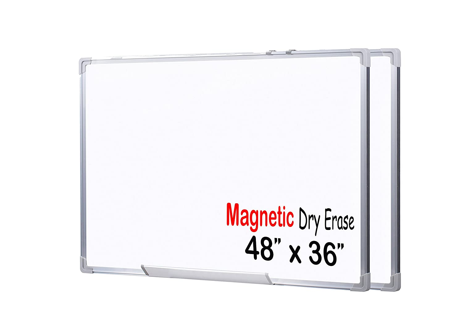 EGI 48x36-Inch Magnetic Dry Erase White Board with Aluminum Frame and Wall Mounting Brackets (48 x 36 (Pack of 2))