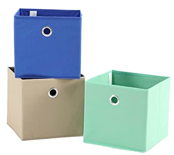 STORAGE MANIAC Set Of 3 Foldable Fabric Storage Bins, Storage Cubes For  Shelf, Aqua