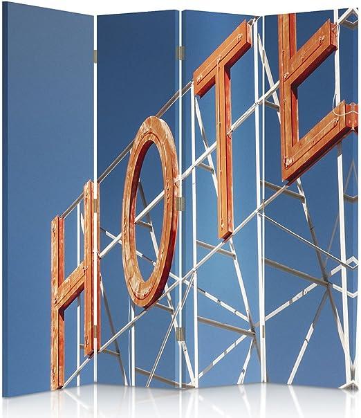 feeby Frames, biombo interior, biombo lienzo, biombo Déco, barrera de separación, biombo 3 o 4 paneles Hotel, con texto, Naranja, 2 faces 145x150 cm: Amazon.es: Hogar