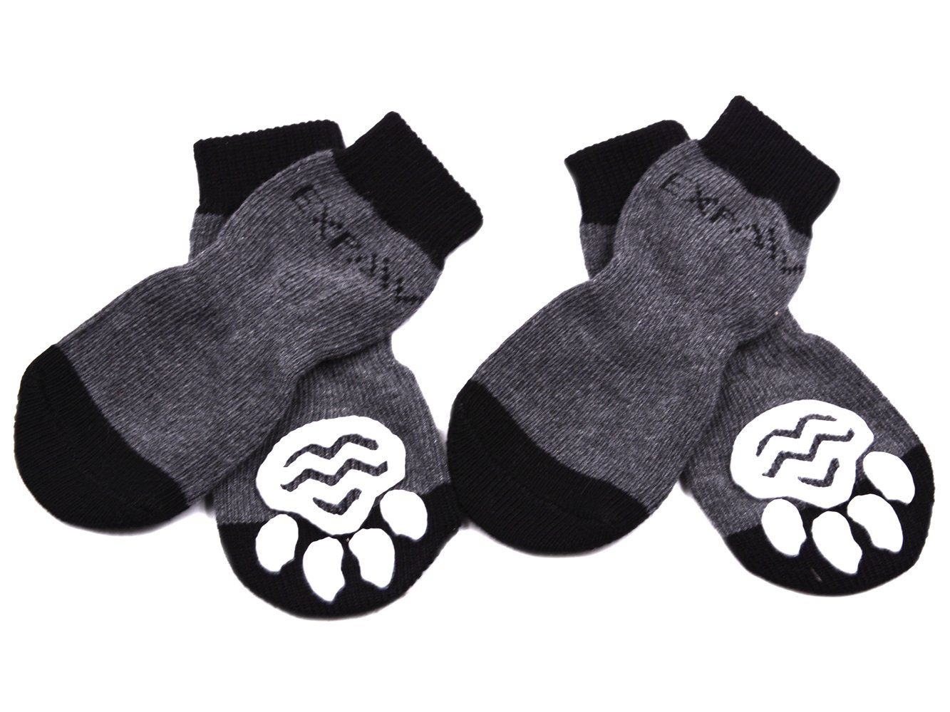 EXPAWLORER Dog Socks Traction Control Anti-Slip for Hardwood Floor Indoor Wear, Paw Protection Grey by EXPAWLORER
