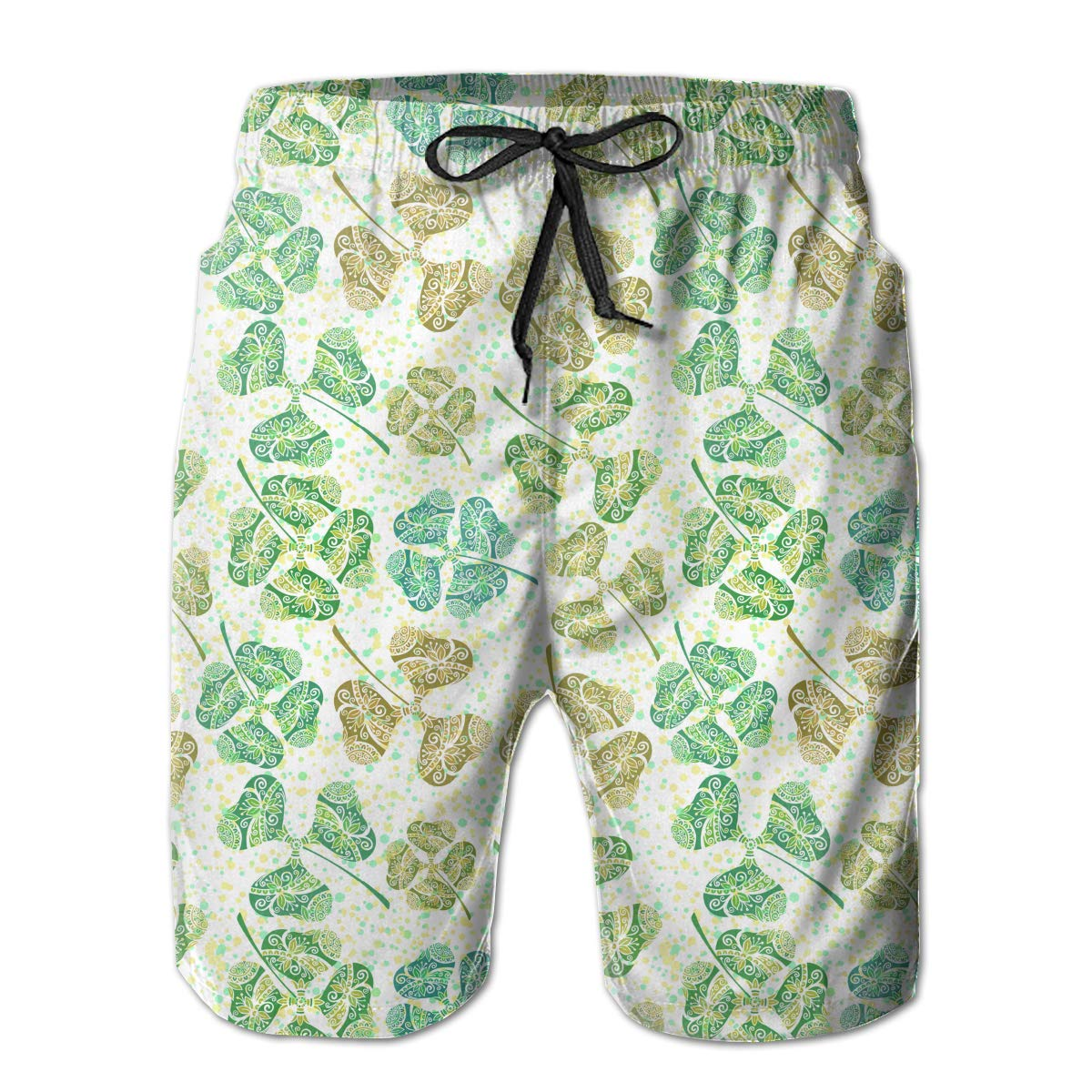 Mens Casual Swim Trunks St Patricks Day Clover Flower Colorful Beach Shorts with Elastic Waist