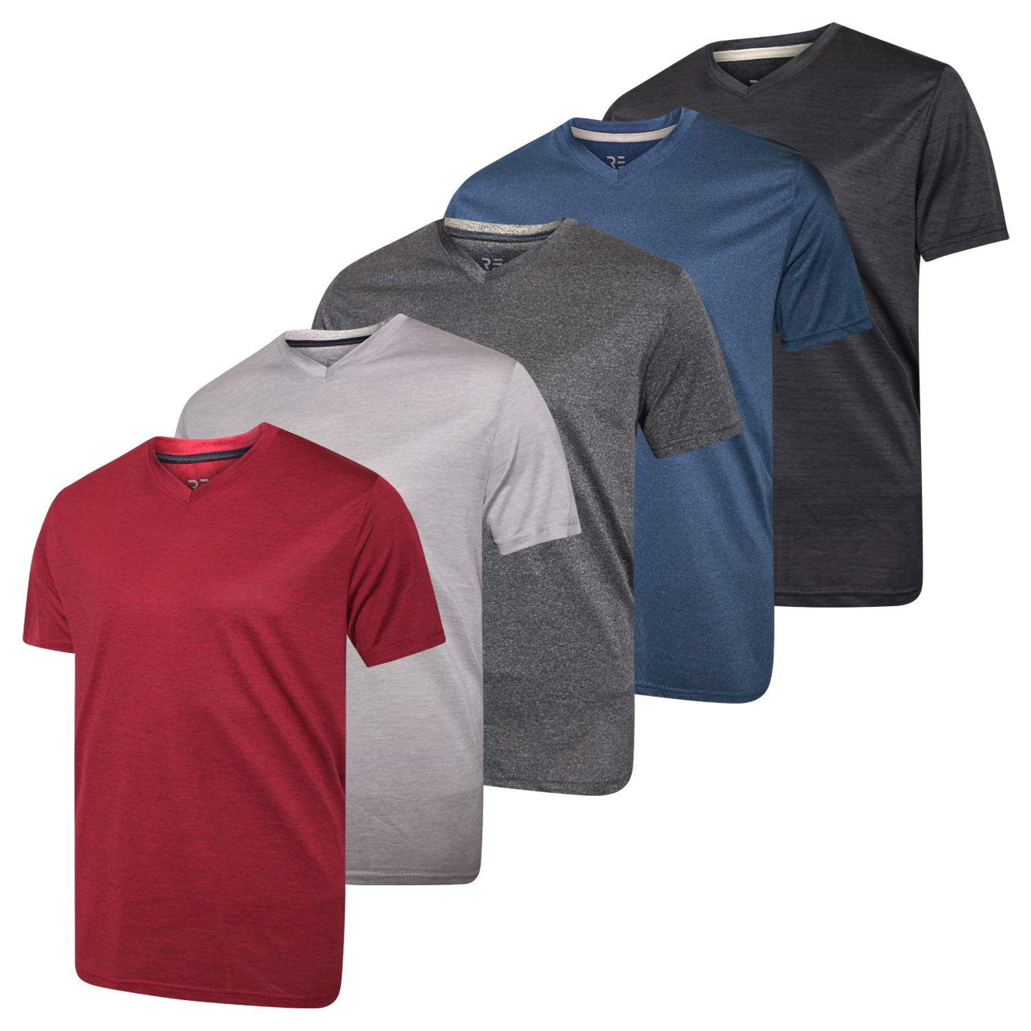 5 Pack:Men's V Neck Quick Dry Fit Dri-Fit Short Sleeve Active Wear Training Athletic Essentials T-Shirt Tee Fitness Gym Workout Undershirt Top-Set 2,L by Real Essentials