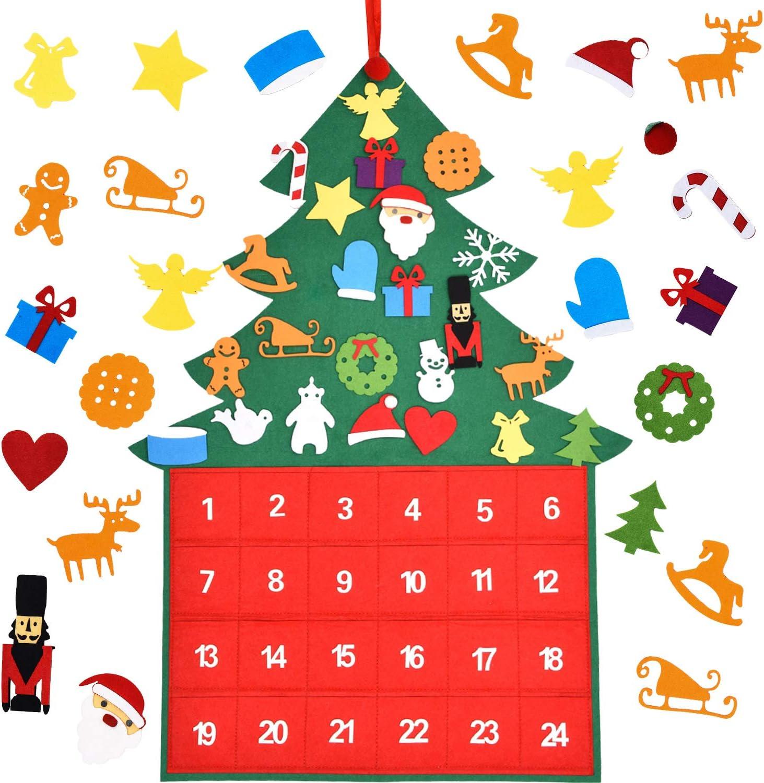 Amazon Com Gejoy Christmas Advent Calendar Christmas Tree Calendar Diy Christmas Countdown 24 Days Wall Hanging Calendars Countdown Days For Home Door Wall Decoration Home Kitchen
