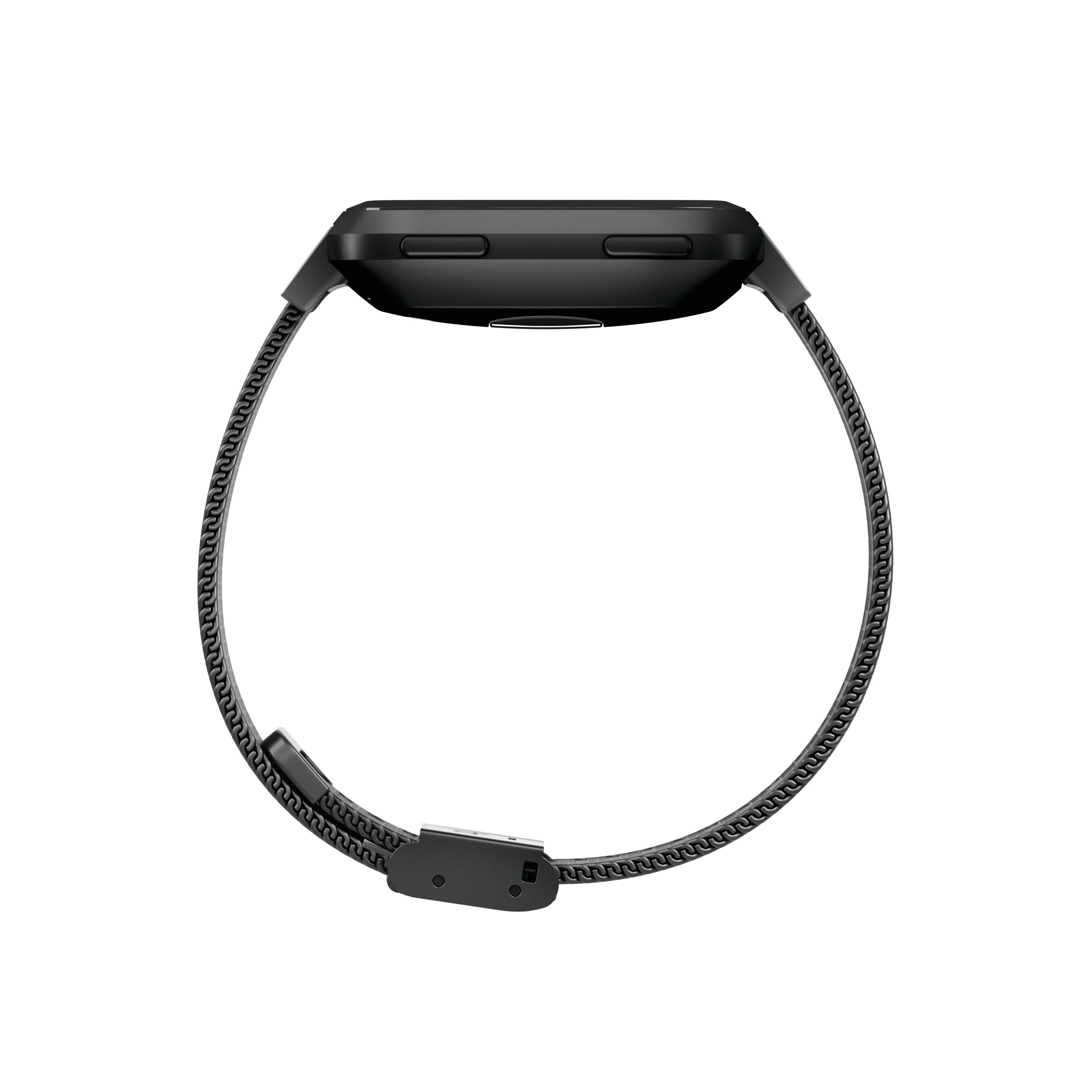 Fitbit Versa Family Accessory Band, Official Fitbit Product, Stainless Steel Mesh, Black, One Size by Fitbit (Image #3)