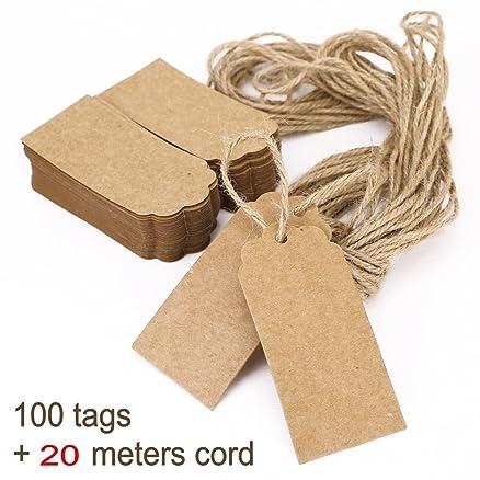 Amato JZK® 100 targhette carta kraft + 20M spago corda juta, cartellini  ZL34