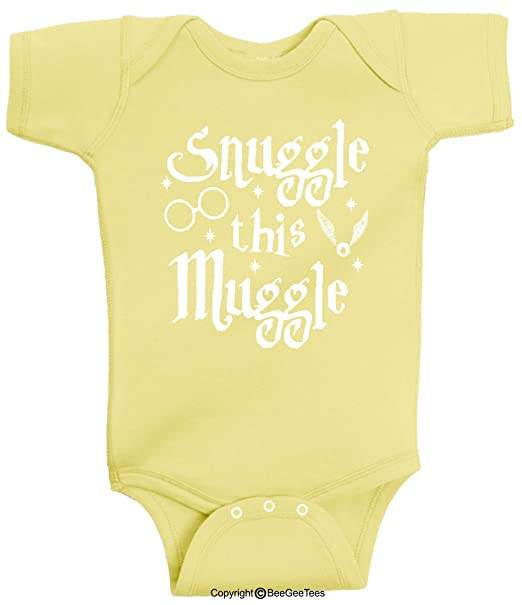 4dea076067f3 BeeGeeTees Snuggle This Muggle Wizard Inspired Baby Wizard Romper One Piece  (Boys and Girls)