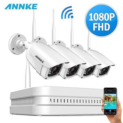 SANNCE Kit Cámaras de Seguridad wifi 4CH 1080P HD Inalámbrica Sistema de vigilancia CCTV(WIFI