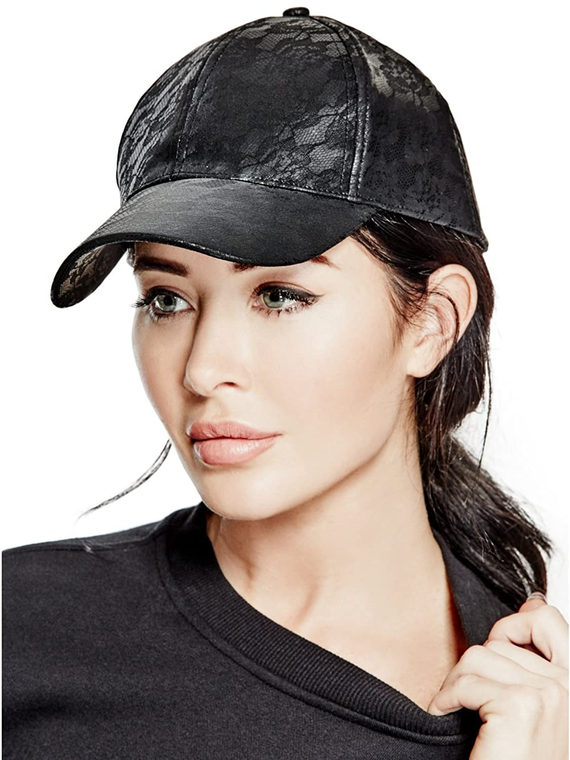 GUESS Faux-Leather Lace Baseball Cap