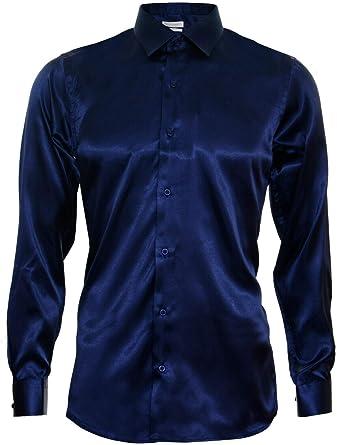 Camisa para Hombre de Raso de Seda de Manga Larga/Elegante Casual. A la Medida: Amazon.es: Ropa y accesorios