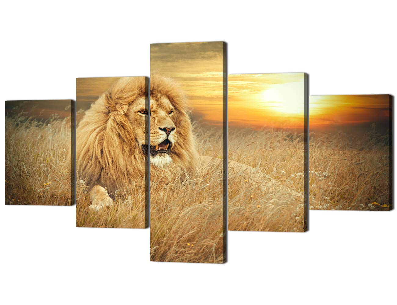 Artwork-09 70''W x 40''H Yatsen Bridge Framed Lion Pictures Wall Decor Modern 5 Panels White Black Lions Canvas Wall Art Easy to Hang Animal Posters for Living Room Bedroom Decor - 60''W x 32''H