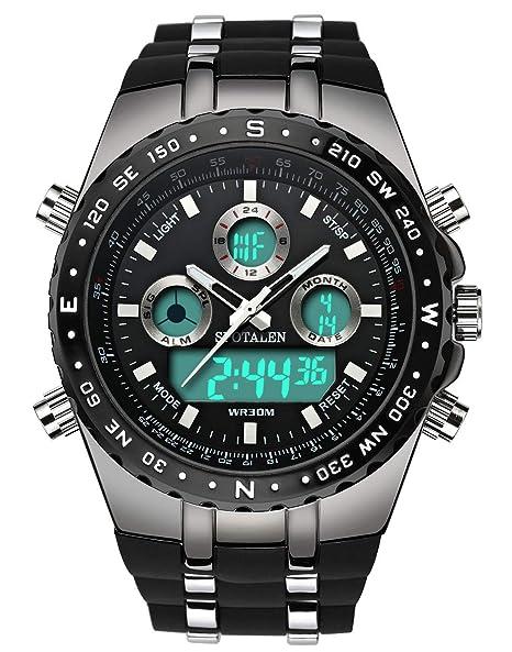 504e0785d448 Relojes deportivos decentes para hombres Reloj militar multifuncional de  gran tamaño en banda de silicona negra