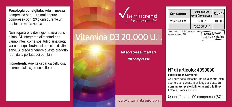 Vitamina D3 20.000 UI – 90 comprimidos – Más concentrado que en forma líquida – Fabricado en Alemania – Colecalciferol – Vitamina del sol