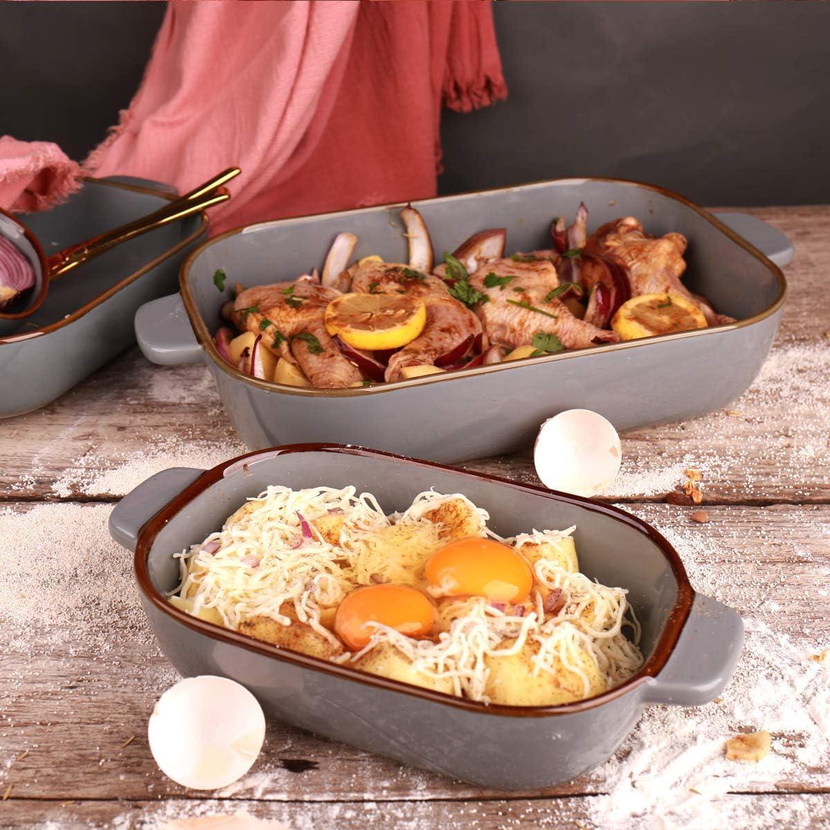 KVV Ceramic 13X9 Baking Dish Set,Kitchen,Cake Dinner,Banquet and Daily Use,Lasagna Pan,Ovenware Casserole Pan,ceramic bakeware Blue set of 3