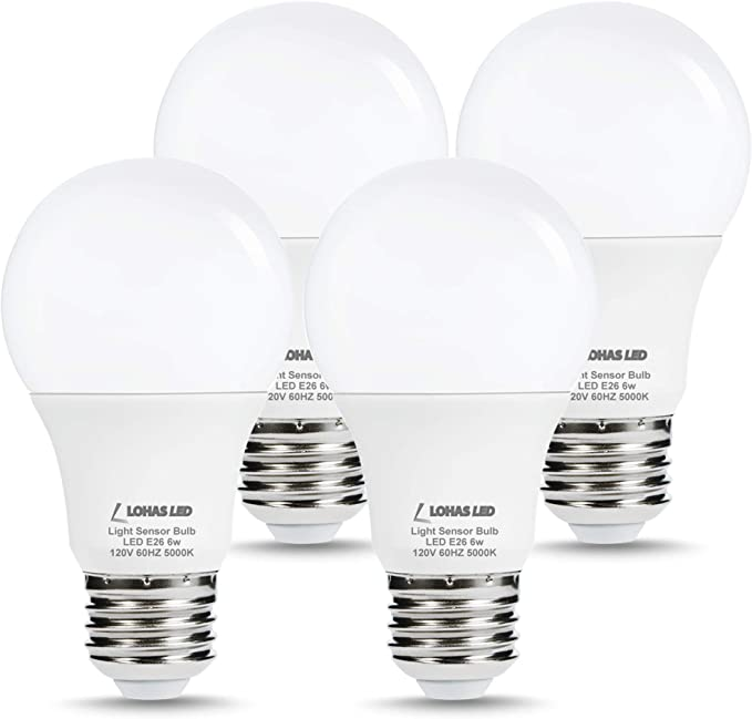 Cold White Alician 85-265V E27 LED Light Sensor Lamp Bulb Automatic Dusk to Dawn Auto ON//Off Globe LED Light Bulb for Home Porch Hallway 6500K 5