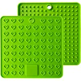 AINAAN 2 Pcs Square Premium Silicone Pot Holder,Trivets, Mitts,Heat Resistant Hot Pads, 7.28 Inch, Green