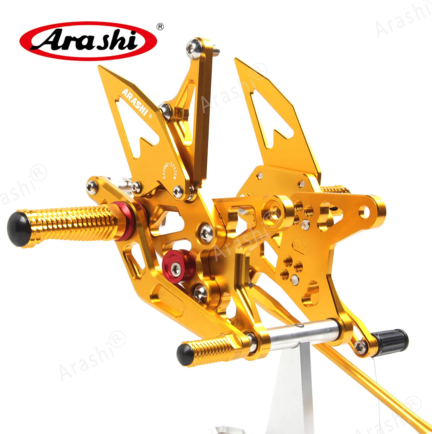 Version 2.0 Rearsets for Kawasaki Ninja ZX6R ZX636 2009-2014 Motorcycle Accessories Adjustable Footrests Foot Peg Rear Sets ZX-6R ZX-636 Gold Arashi
