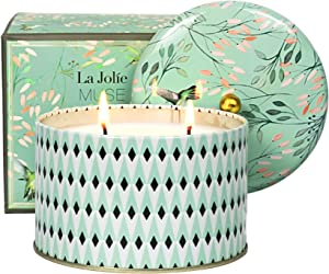 LA JOLIE MUSE Large Scented Candle, 2 Wicks White Tea Aromatherapy Candle for Home, 14.1 Oz Long Lasting Candles, Relaxing Candle Gift for Women
