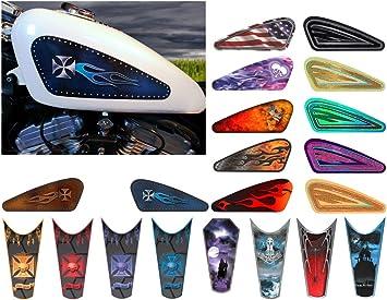 Motorcycle Gas Tank Decals / sets - For Harley Davidson Sportster 883 1200 Honda Shadow Suzuki Kawasaki Indian Yamaha (Chopper Cross Riveted Panel - Midnight Blue - 2pc Side Tank decals)