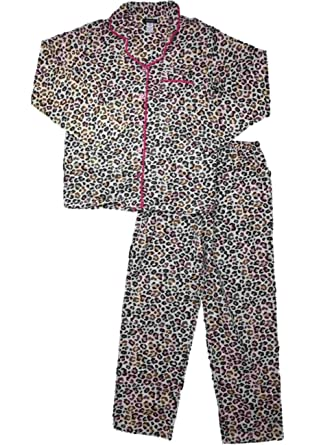 248140bfc0 Image Unavailable. Image not available for. Color  Womens Gold Accent  Cheetah Leopard Animal Print Flannel Pajamas Sleep Set