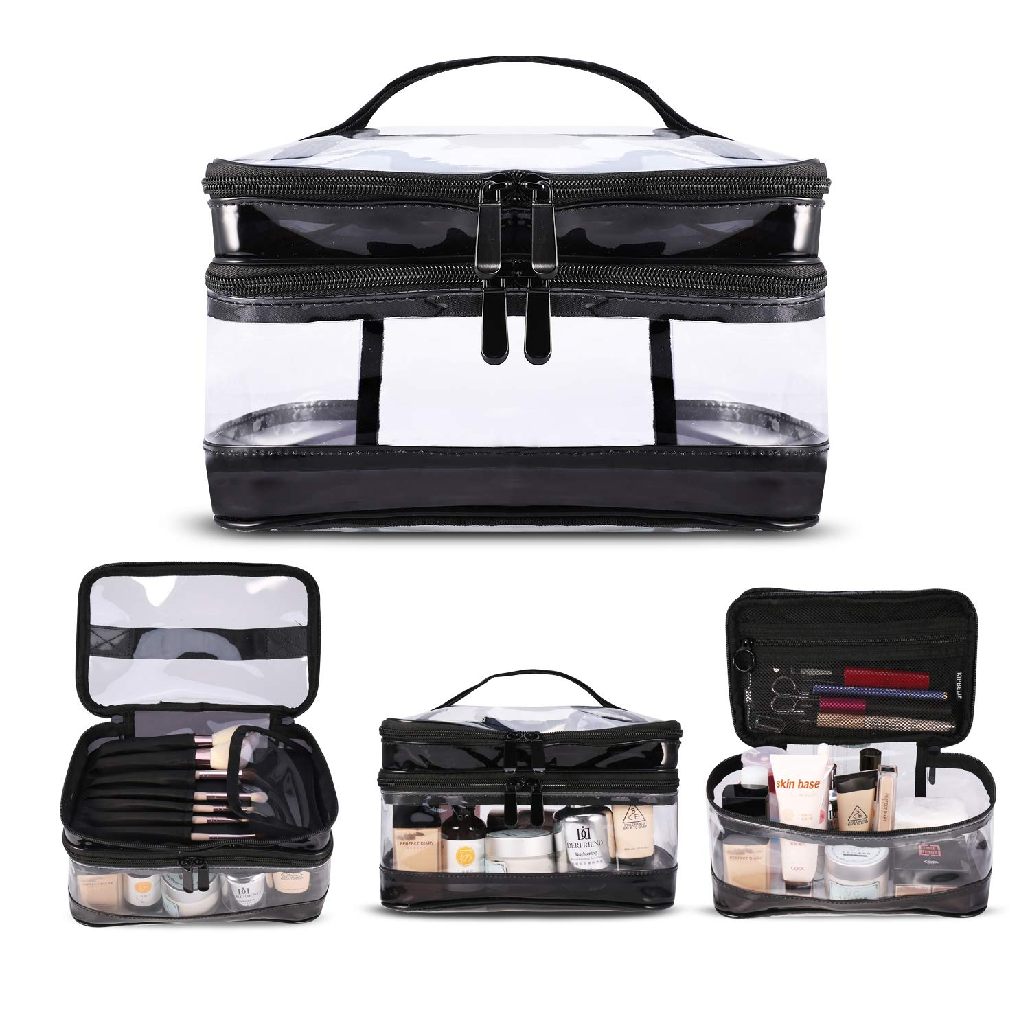 KIPBELIF Clear Makeup Bag Organizer - Multifunction Large Waterproof Portable Travel Makeup Cosmetic Bags