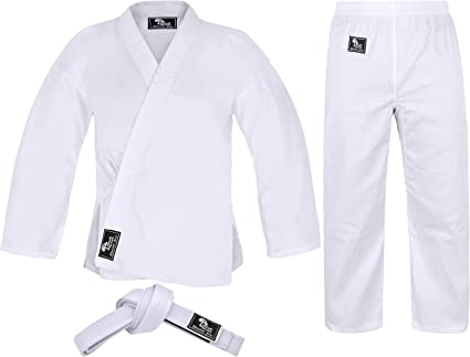 MARTIAL ARTS KARATE UNIFORM// Gi  8oz WEIGHT WHITE FOR KIDS /& ADULT 000-7 SIZE