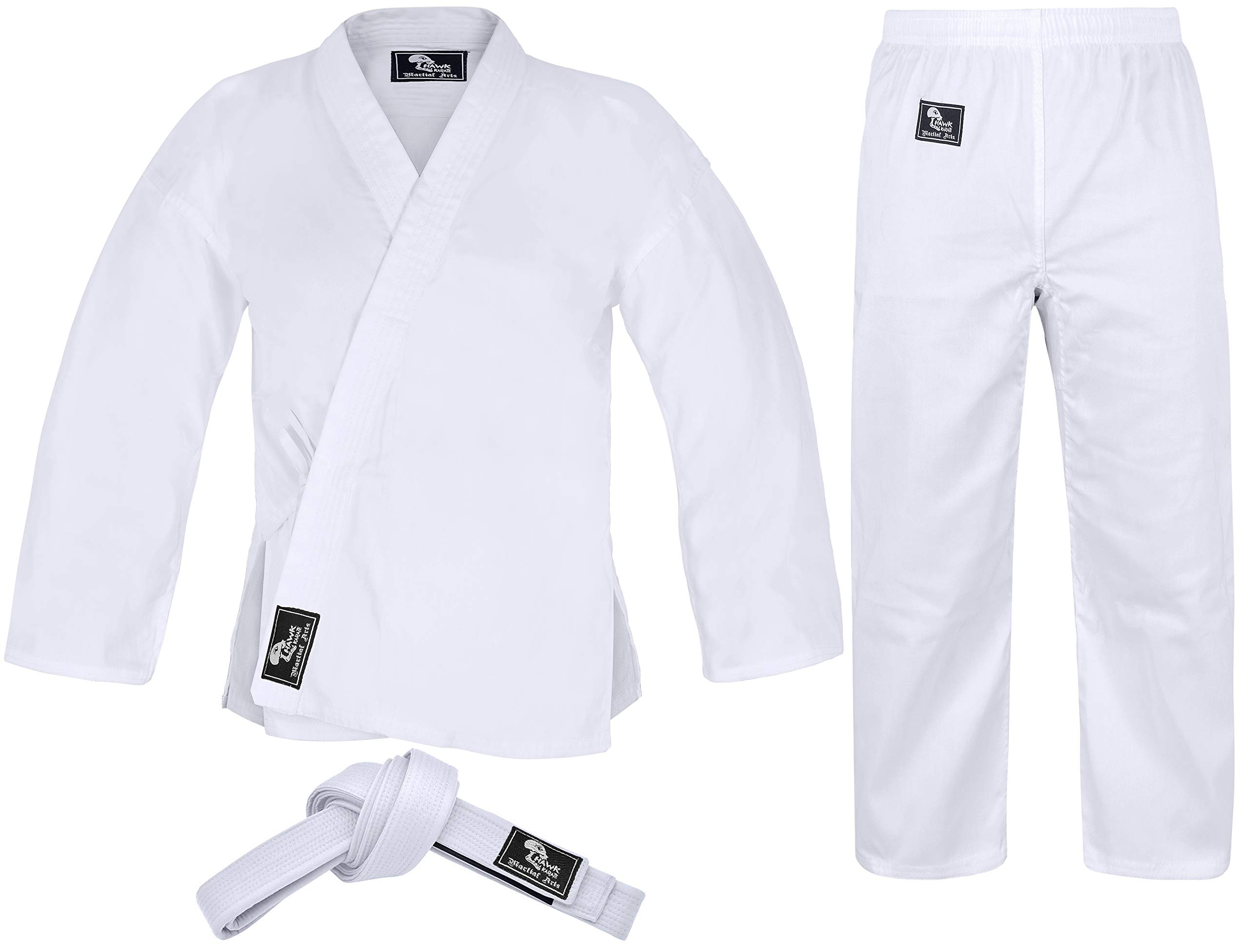 Hawk Sports Karate Uniform for Kids & Adults Lightweight Student Karate Gi Martial Arts Uniform Free Belt (White, 6 (6'2'' / 200lbs)) by Hawk Sports