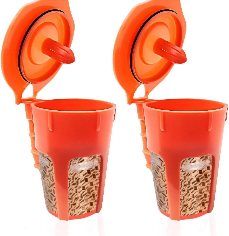 füllen N sparen 2 Pack Reusable Carafe K-Cups. 24K goldenen Reusable Coffee Filter für die Keurig 2.0, K200, K300, K400, K500 Series von Machines. Refillable K Carafe Pods