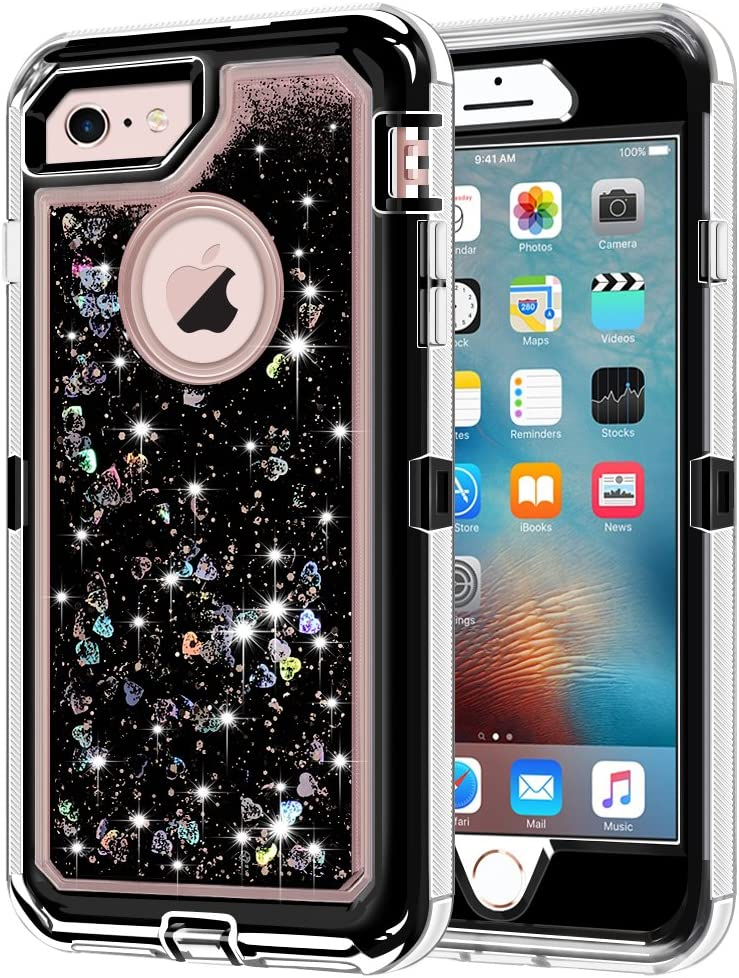 "iPhone 6S Case, iPhone 6 Case, Anuck 3 in 1 Hybrid Heavy Duty Defender Case Sparkly Floating Liquid Glitter Protective Hard Shell Shockproof TPU Cover for Apple iPhone 6 /iPhone 6S 4.7"" - Black"