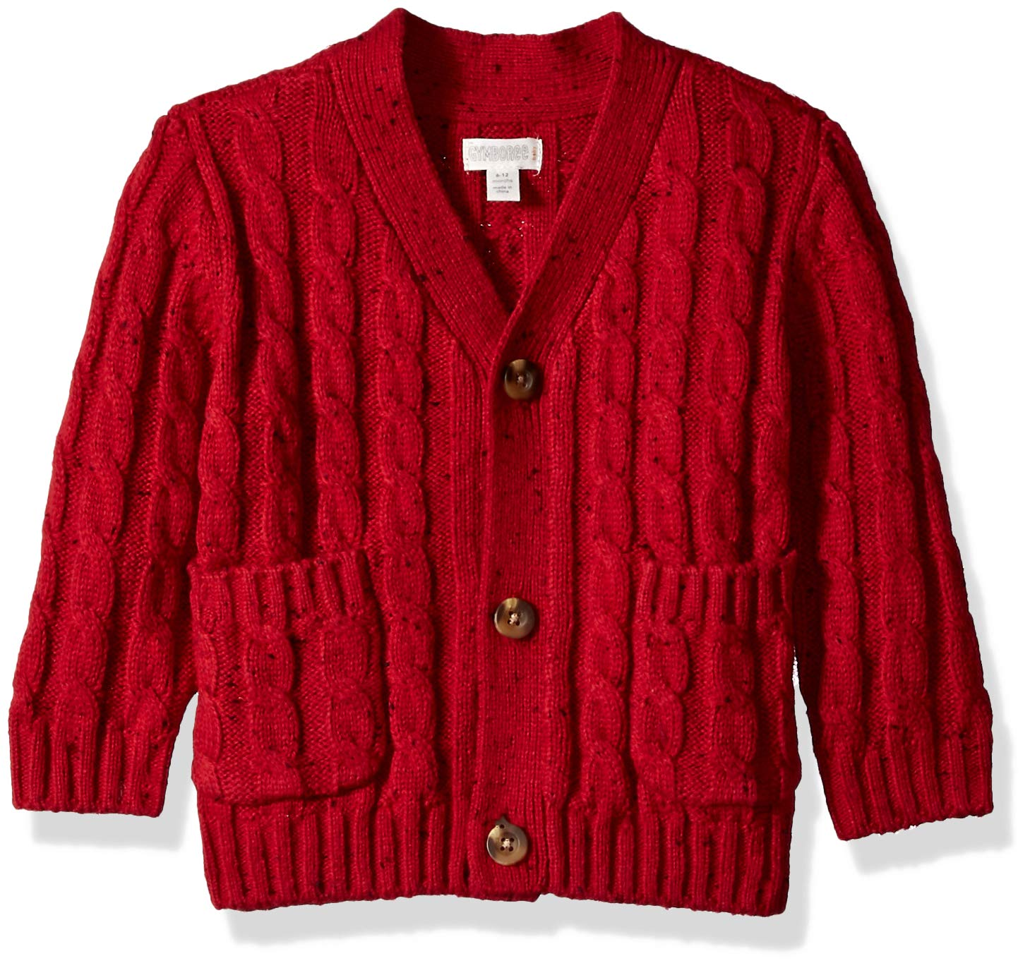 Gymboree Baby Boys Long Sleeve Shawl Collar Cardigan, Rooster red, 3-6 Mo by Gymboree