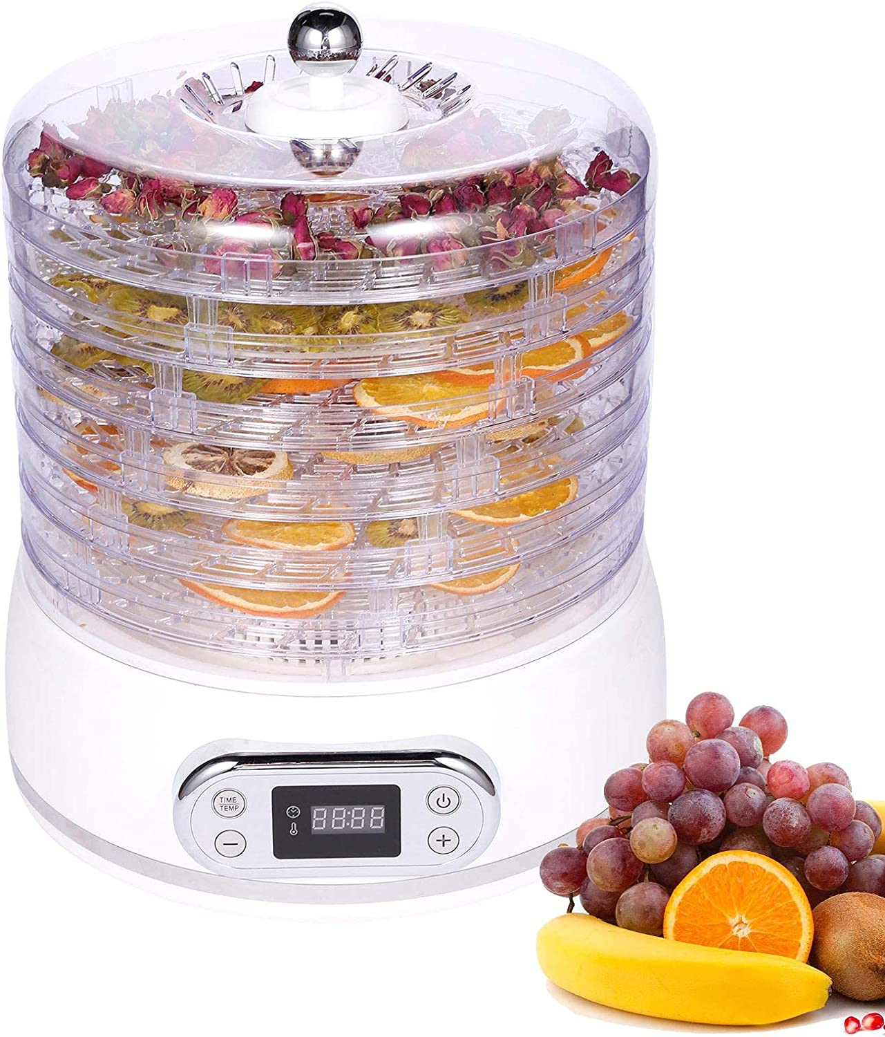 Dreamvan Food Dehydrator Machine, 6 Trays Fruit Dryer Machine with Adjustable Timer, Overheat Protection, Temperature Control, Dehydrator for Beef Jerky, Herb, Vegetable, Meat, Dog Treats (White) BPA Free