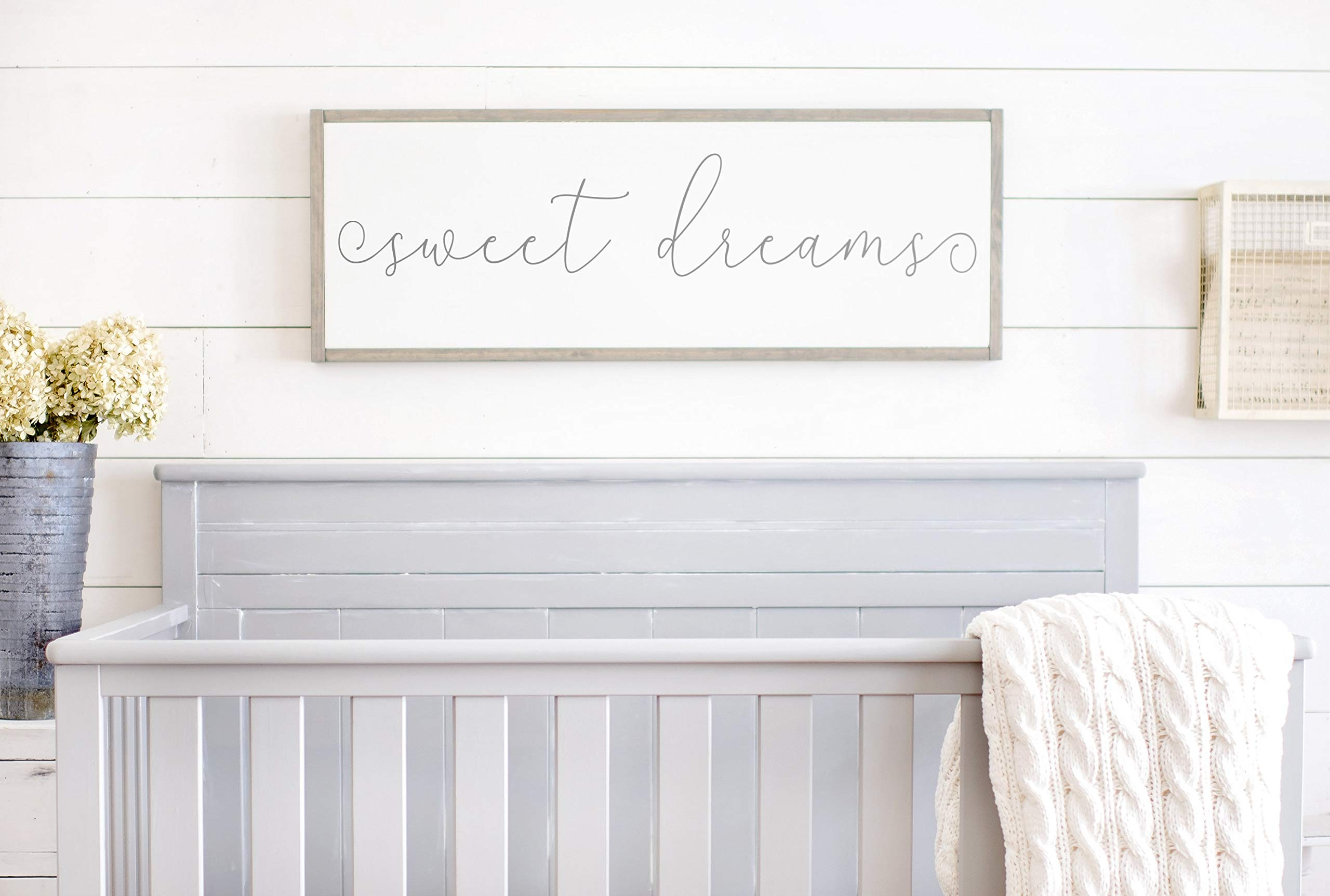 Bruyu5se Framed Wood Sign Rustic Wooden Sign Sweet Dreams Sign Above Crib Sign Sign for Above Crib Sweet Dreams Wood Sign Sweet Dreams Nursery Sign 6 x 20 Inch Decorative Sign Home Decor by Bruyu5se