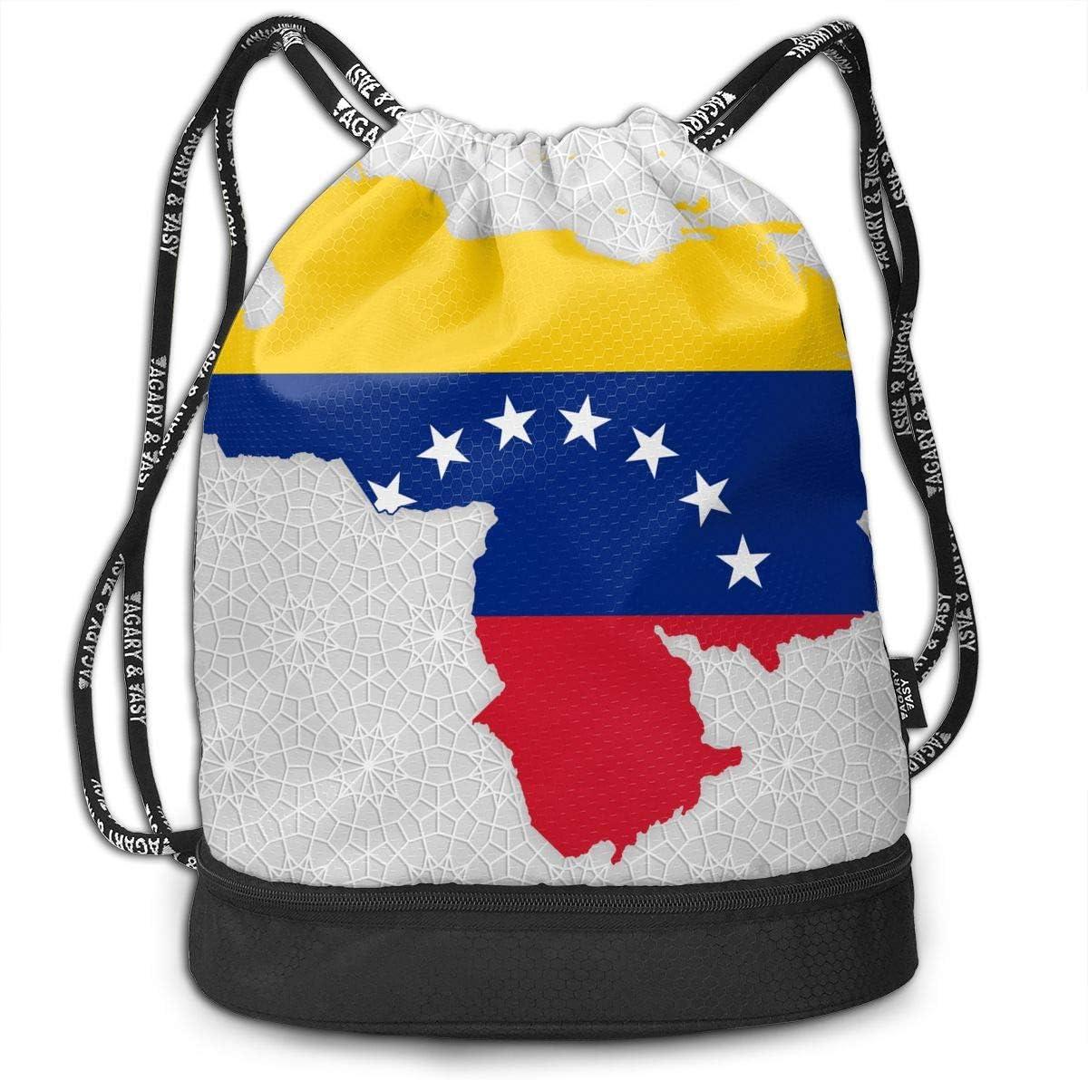 Flag Map Of Venezuela Drawstring Bag Multifunctional String Backpack Custom Cinch Backpack Rucksack Gym Bag