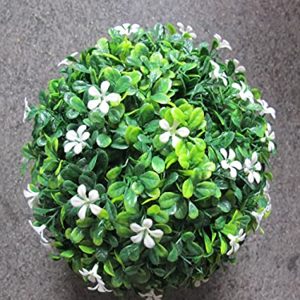 Amazon boxwood ball with white flowers indooroutdoor boxwood ball with white flowers indooroutdoor decoration artificial plant green topiary grass ball mightylinksfo
