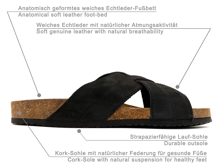 Morxiva Made In Spain Herren Echtleder Nubuk Bio Pantoletten mit Kork Sohle und Leder Fußbett. Schöne und Bequeme Hausschuhe Sommer Sandalen für