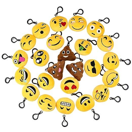 ZARRS Emoji Llavero,24 Pack Mini Juguete de Peluche 5.5cm Emoticon Llavero Soft Party Bag Decoraciones de Cumpleaños,Favores de Fiesta,Llenadoras de ...