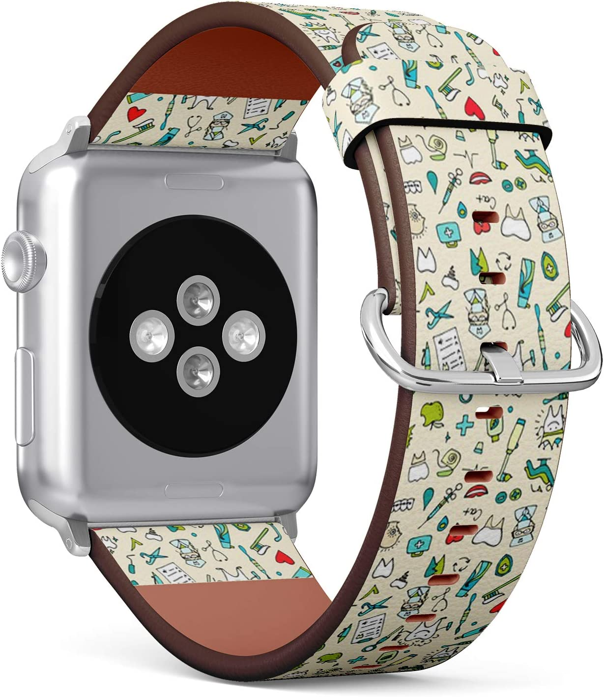 Compatible with Apple iWatch Series 1/2/3/4 (42mm & 44mm), Replacement Leather Bracelet Wristband Strap [ Dental Sketch Your ]