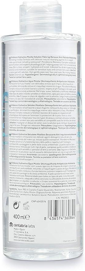 Endocare Hydractive Agua Micelar - Limpiador Facial Suave e Hidratante, Desmaquillante para Cara, Ojos y Contorno de Ojos, Todo Tipo de Pieles, 400 ml: Amazon.es: Belleza