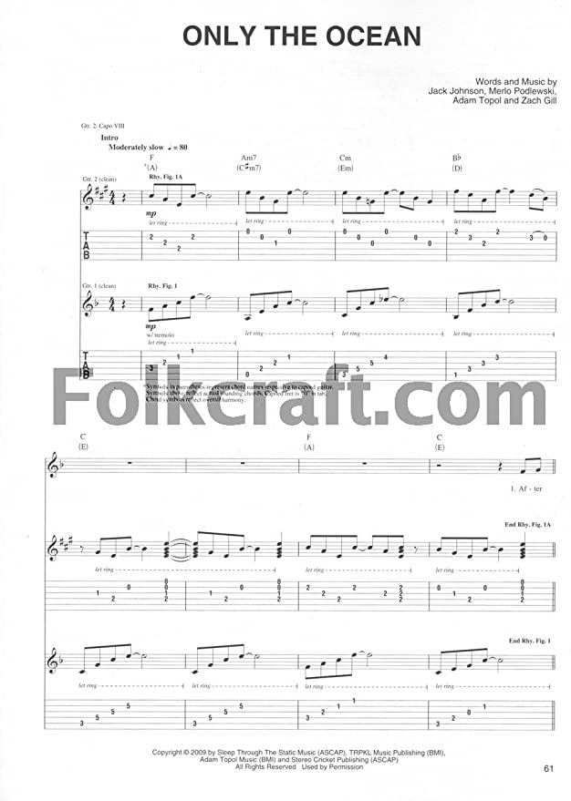 Cherry Lane Jack Johnson: To The Sea Guitar Tab Songbook: Amazon ...