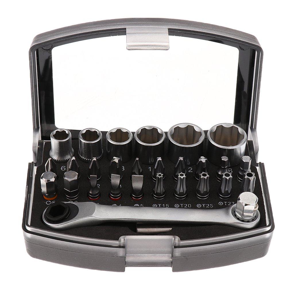 Sharplace 29 Pcs Mini Chiave A Cricchetto Set Multifunzionale Set Bit Strumento Di Riparazione In Scatola