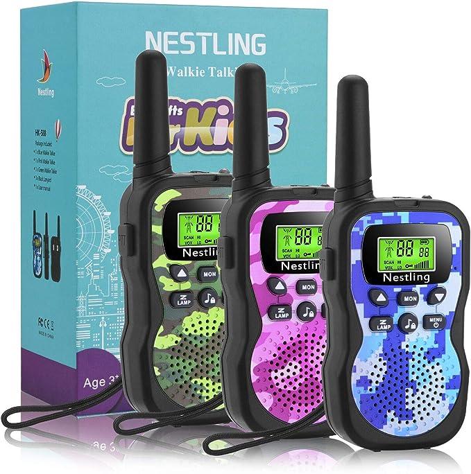 Nestling Walkie Talkie para niños, Camuflaje al Aire Libre, 8 Canales, Radio de 2 vías, Juguetes, Linterna LCD retroiluminada, Rango de 3 Millas para Actividades Infantiles (3pcs Camuflaje)