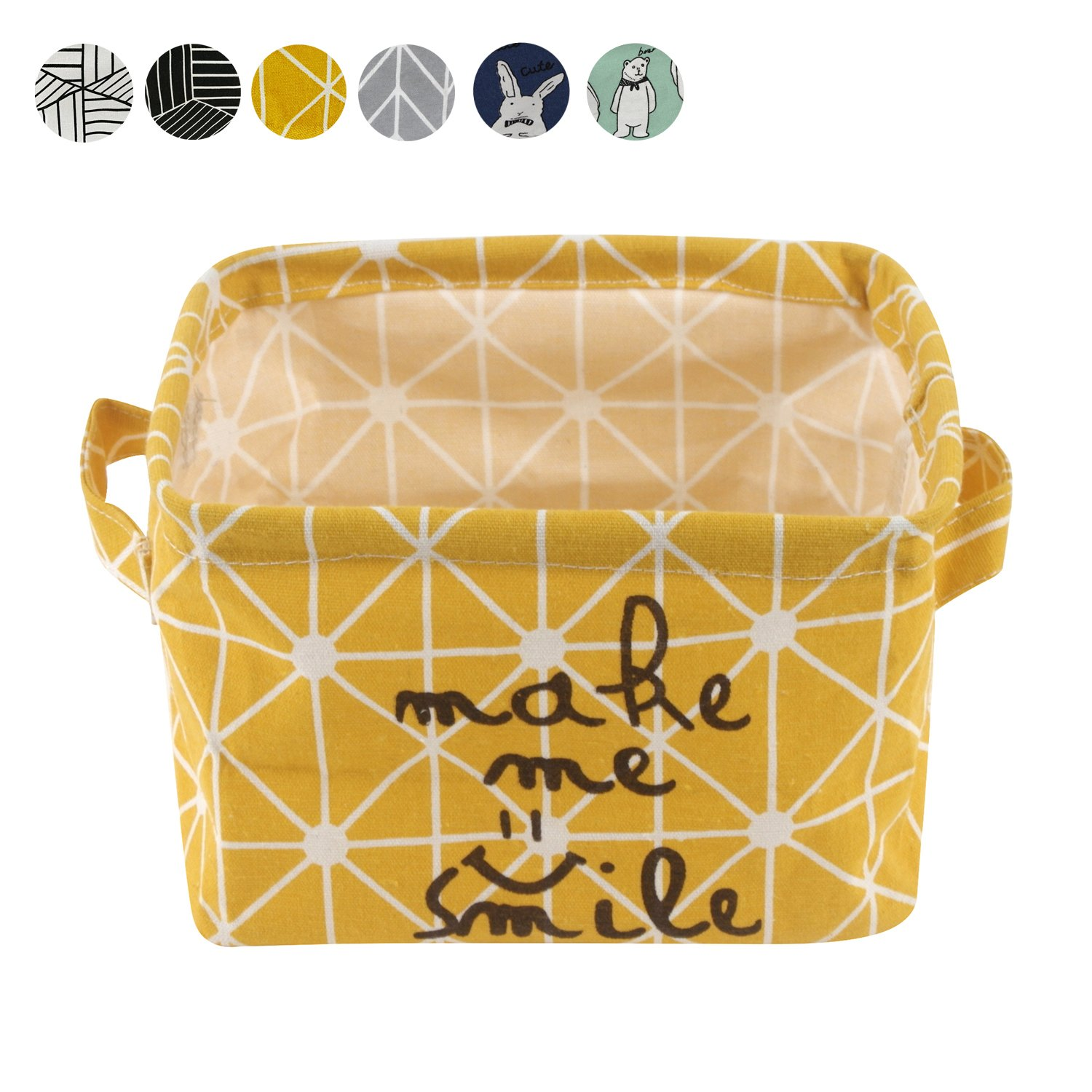 Small Foldable Storage Basket Canvas Fabric Organizer Collapsible and Convenient for Nursery Babies Room 100% Cotton by USATDD (Yellow)
