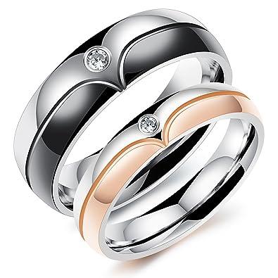 ILOVE EU Par de anillos para pareja, de acero inoxidable, con circonitas, para
