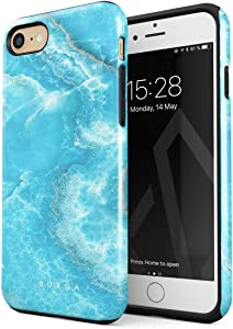 BURGA Phone Case Compatible with iPhone 7/8 / SE 2020 - Sky Blue Teal Marble Turquoise Azure Ocean Sea Waves Bright Stone Heavy Duty Shockproof Dual Layer Hard Shell + Silicone Protective Cover