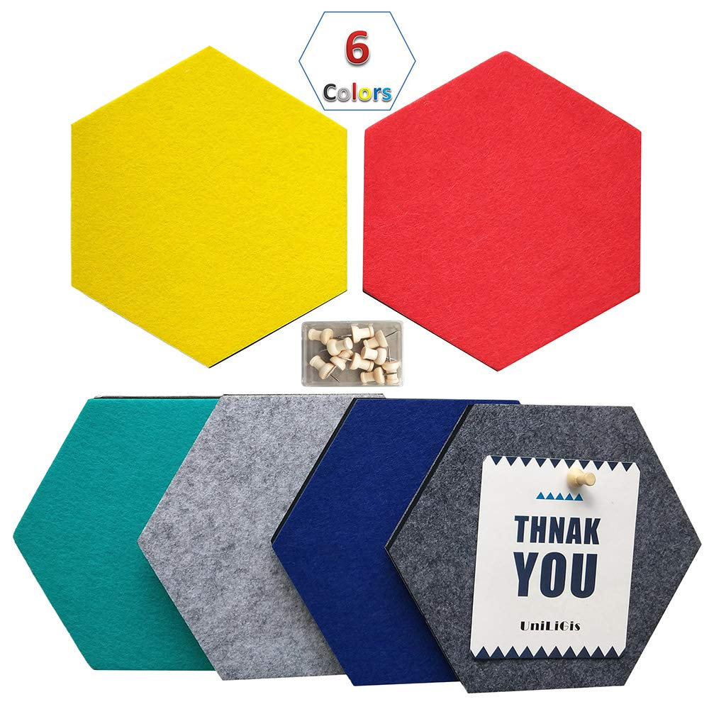 UniLiGis 6 Colors Hexagon Bulletin Board,Felt Cork Board Tiles,Pin Board Wall Decor for Photos,Memos,Display,Include 18 Pins 7x6.1x0.32 inches Group 1 by UniLiGis