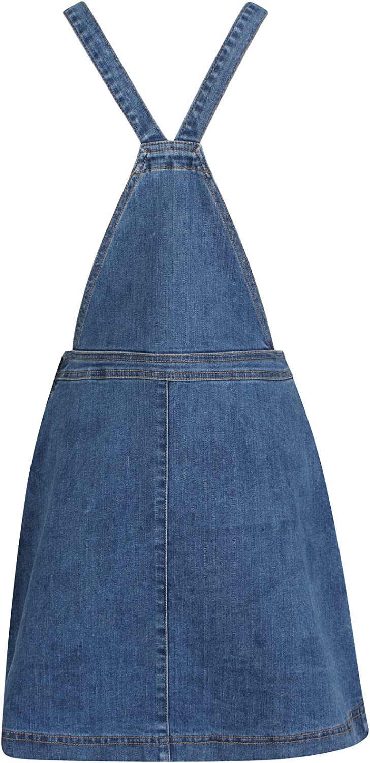DeMina Womens Ladies Denim Dungaree Skirt Stretch Dungaree Pinafore-Holly
