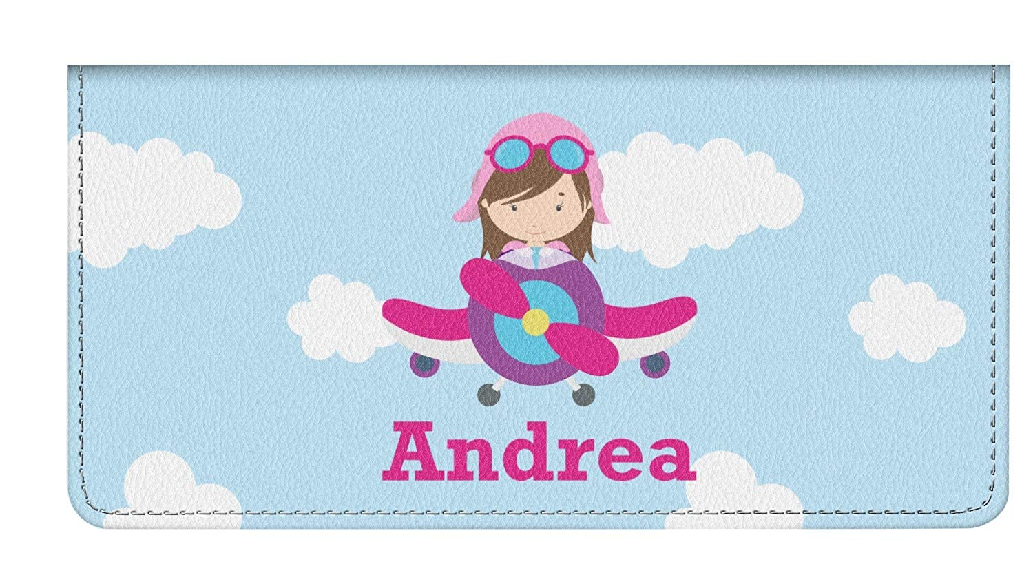 Personalized Airplane /& Girl Pilot Genuine Leather Checkbook Cover