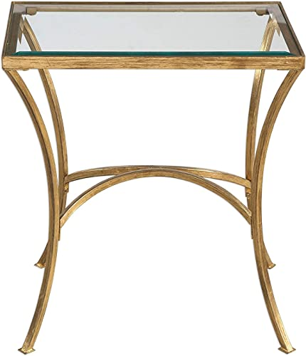 MY SWANKY HOME Minimalist Gold Arch End Table Metal Glass Top Side Accent Modern Contemporary