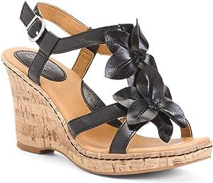 BORN b.o.c. Edith Flower Black Wedge Sandals Size: 8