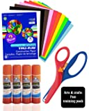 Arts & Crafts Fun Combo for Kids, Includes Heavyweight Construction Paper 9x12-inches 50 count Assorted With Pre-School Training Scissor, and Elmer's All Purpose Glue Sticks, Clear, Washable, 4 Pack