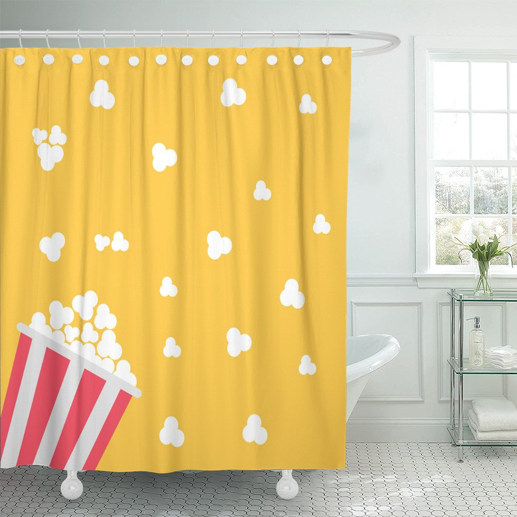 Emvency Shower Curtain Pink Pop Popcorn Cinema in Flat Design Style Red Corn Movie Waterproof Polyester Fabric 60 x 72 inches Set with Hooks by Emvency